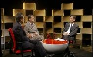 保安局副局長黎棟國(圖中)及政治助理盧奕基(圖左)接受《對策》監製兼主持謝志峰(圖右)訪問。